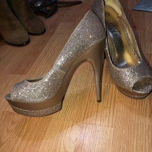 Gold high peep toe pumps shoes glamour Fabulous